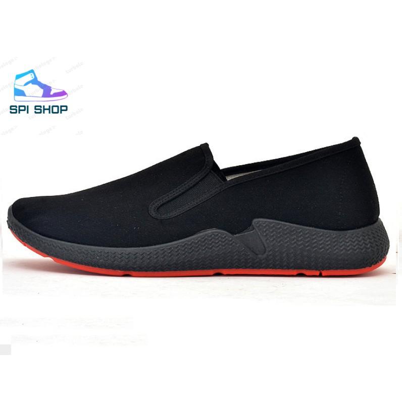 Giày Lười Vải Nam Đen Đế Cao Spiso S51