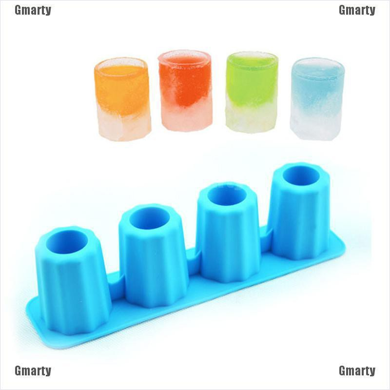 Gmarty Silicone 4-Cup Shaped Ice Cube Shot Glass Freeze Mold Maker Tray Party Bar Drink