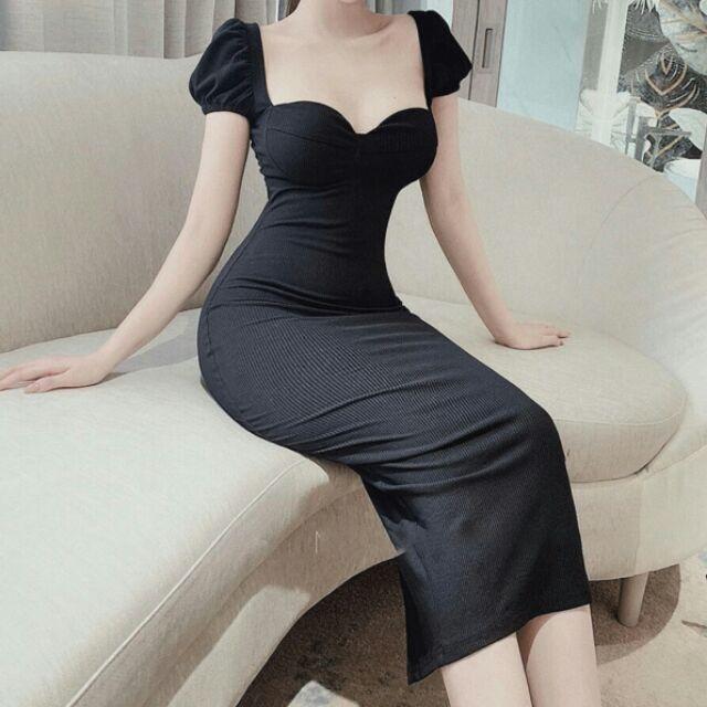 - Đầm body đen tay phồng cúp ngực