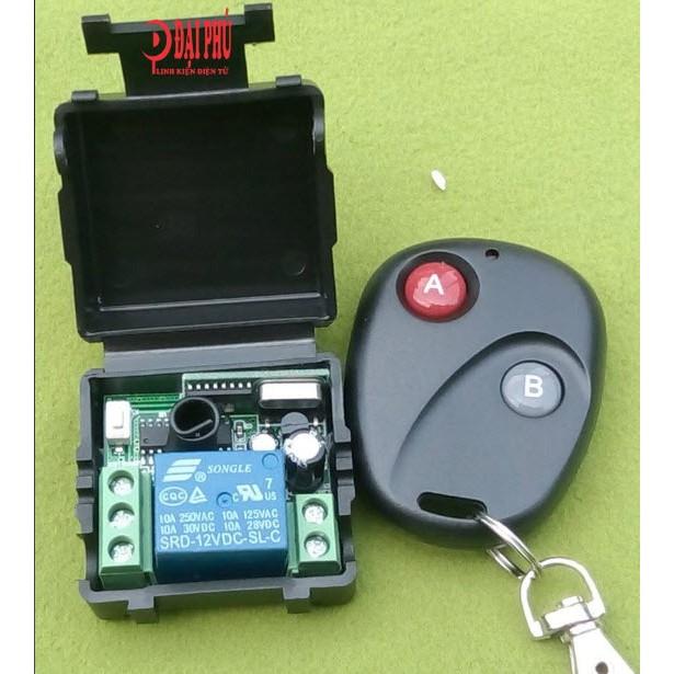 Thu phát RF 1 kênh - remote 2 chế độ đóng mở có học mã
