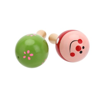 Pair Lovely Wooden Mini Maraca Rattles Shaker Percussion Toy kid Favor Party