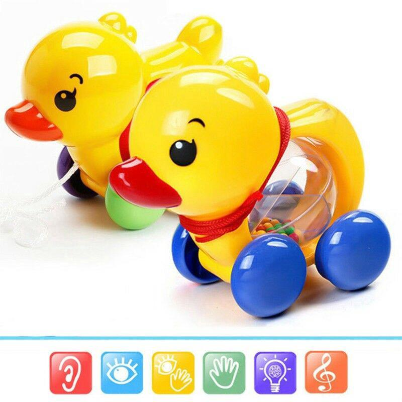 New Pull Rope Duck Animals Baby Rattles Shaking Bell Kids Music Toy