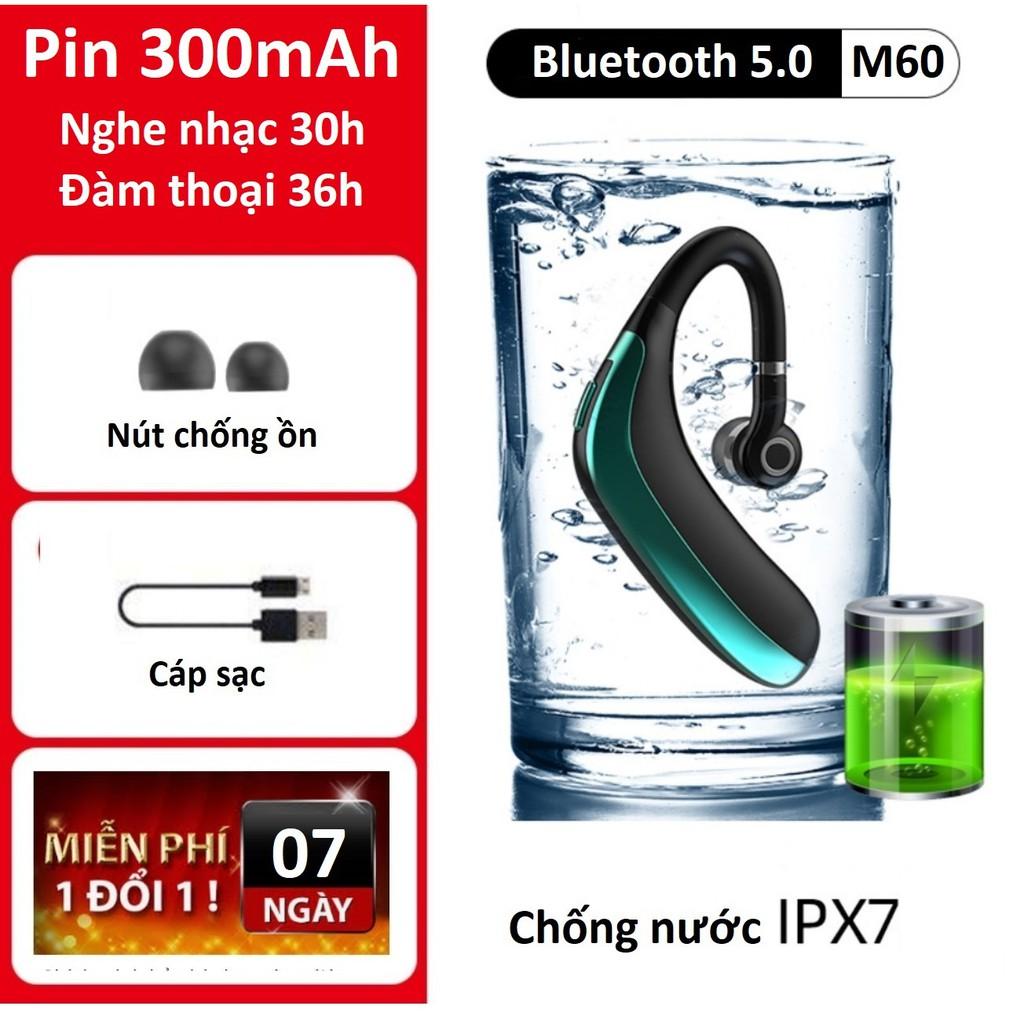 Tai nghe bluetooth 5.0 M60 xoay 180 độ, chống nước IPX7 , kết nối 2 điện thoại,Pin 300 mAh,sử dụng liên tục từ 20h -30h.
