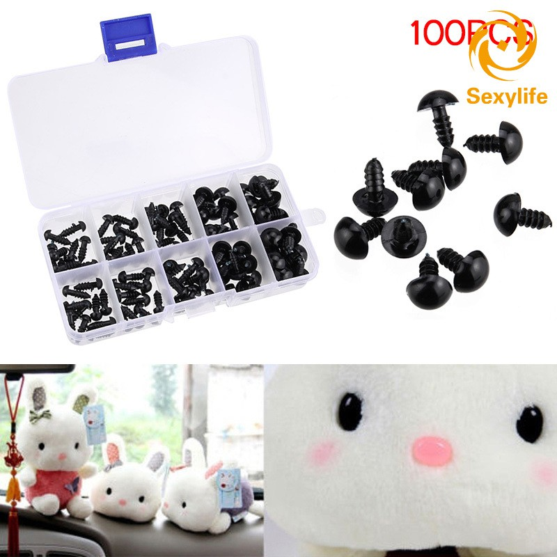 SL♣ 100pcs Black Plastic Safety Eyes for Teddy Plush Doll Puppet DIY Crafts 6-12mm