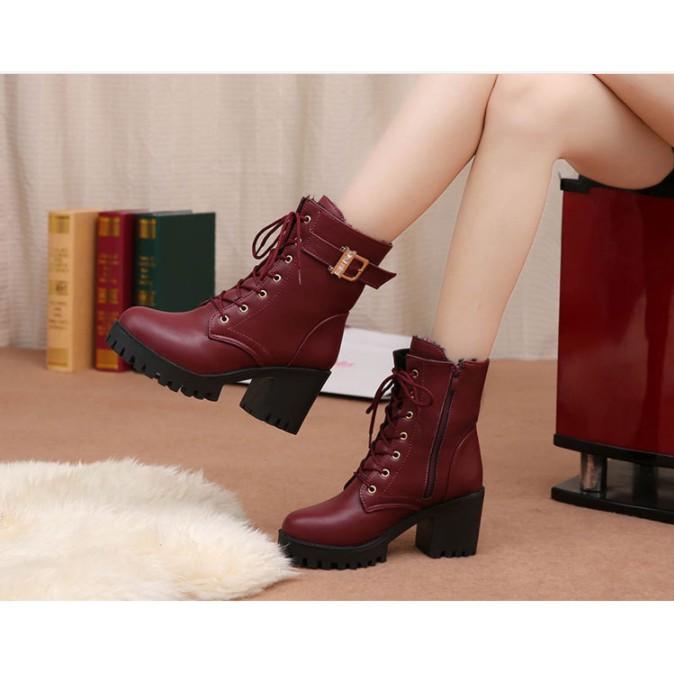 Boot cao cổ da phong cách