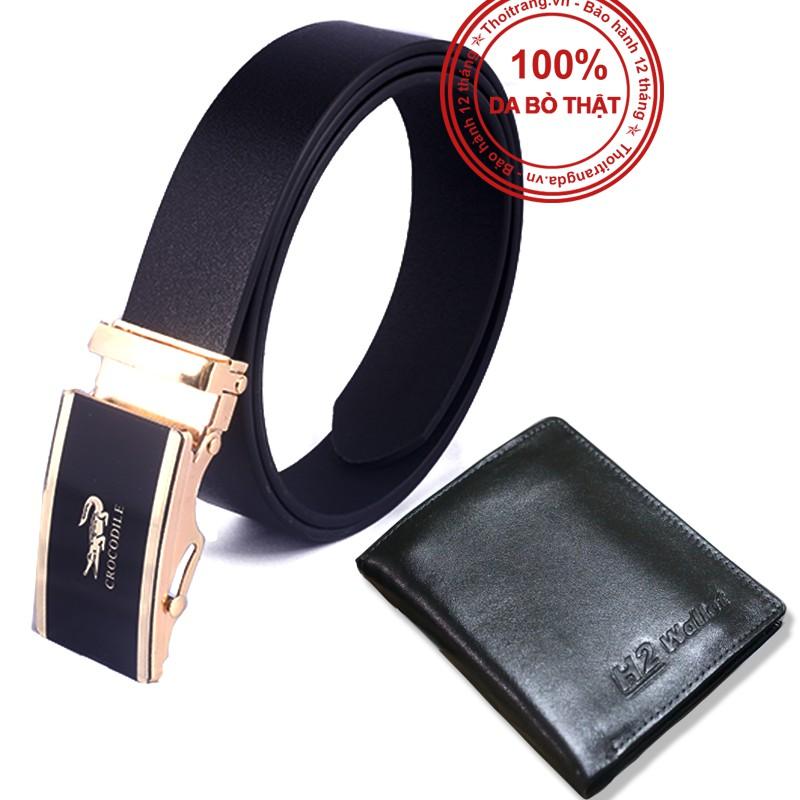 [ COMBO ] dây lưng + ví da thật sành điệu - DLMM70 + VMM17