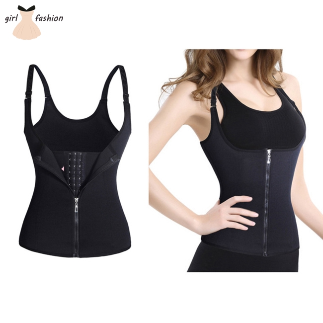Female Sports Shapewear Layered U-collar Adjustable 3 Rows of Buckles Zipper Vest Corset