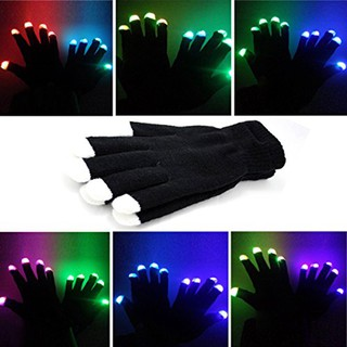 Fashion LED Multicolor Light Fingertips Gloves Keep Warm Stage Performance Glove H29
