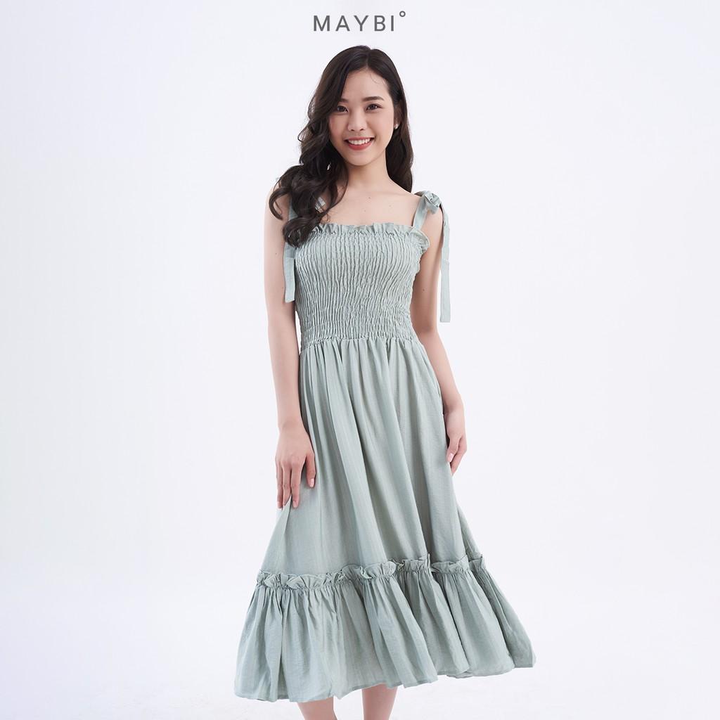MAYBI - Đầm xanh mint nhún ngực Gia Mint Dress