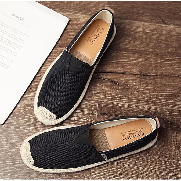 Slip on 2018 - Giày lười vải nam cao cấp - Vải bố màu đen, mũi cói - Mã SP 2905