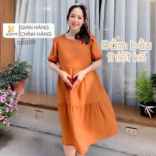 Váy bầu dự tiệc thiết kế 3 tầng 2MAMA trơn một màu freesize dưới 75kg V12 thumbnail