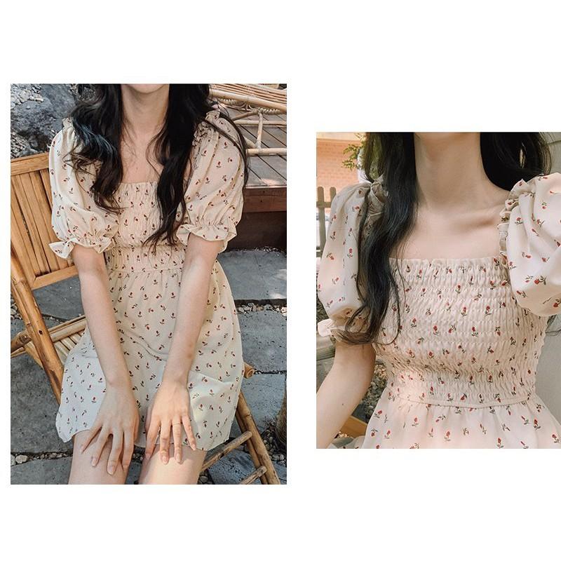 Đầm - váy hoa nhí cổ vuông trễ vai ngắn tay chun ngực ulzzang, Đầm - váy hoa nhí ngắn dáng xòe trễ vai cộc tay