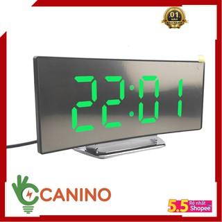 Đồng hồ LED LCD Miror Clock DT6507 mặt gương cong