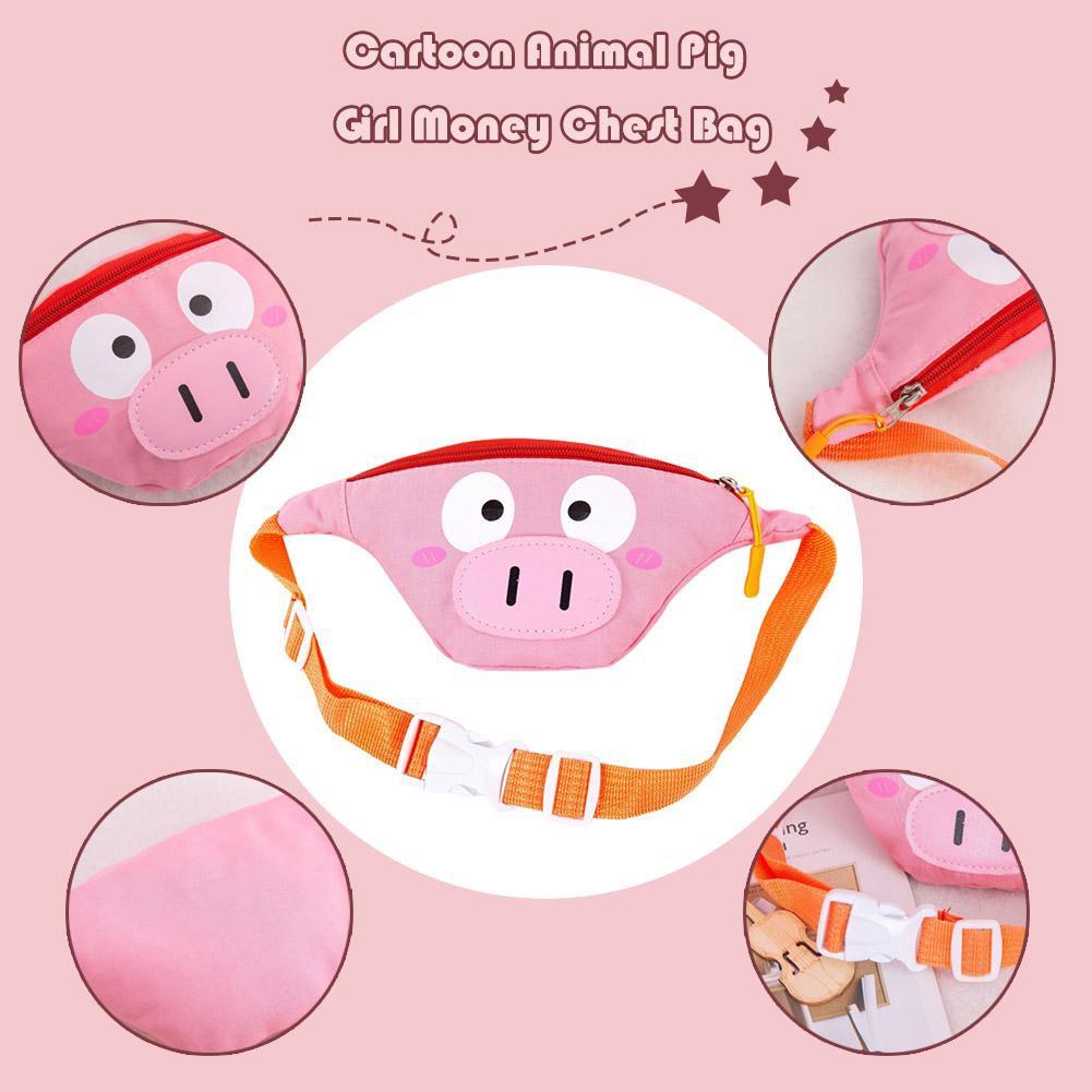 [SU]Children Waist Packs Kid Fanny Bag Cartoon Animal Pig Girls Money Chest Bag