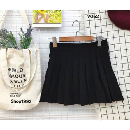 Chân Váy xếp ly Kaki đen Chữ A Dáng ngắn Váy Thiết Kế Xẻ Quyến Rũ