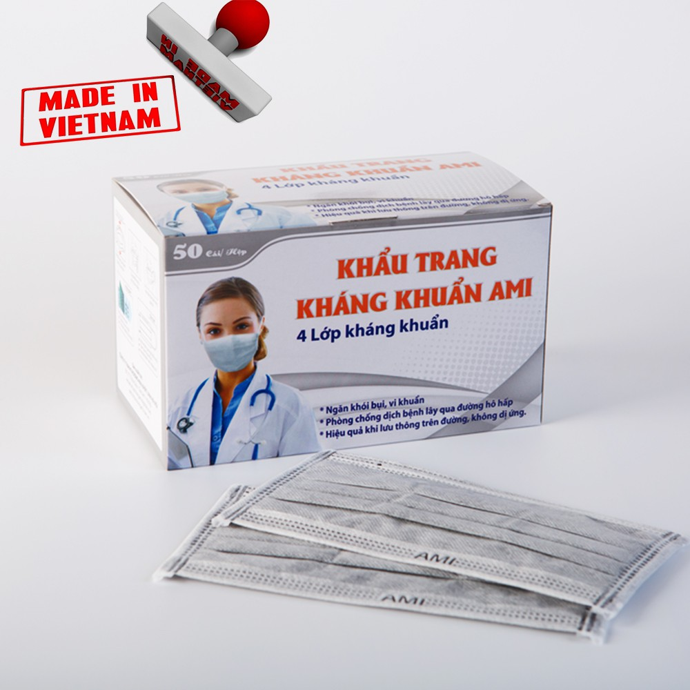 Combo 5 Hộp Khẩu Trang Y_Tế AMI,Mầu Xám,4 Lớp Có Lớp Than Hoạt Tính, (50 chiếc 1 hộp) 5 xám | WebRaoVat