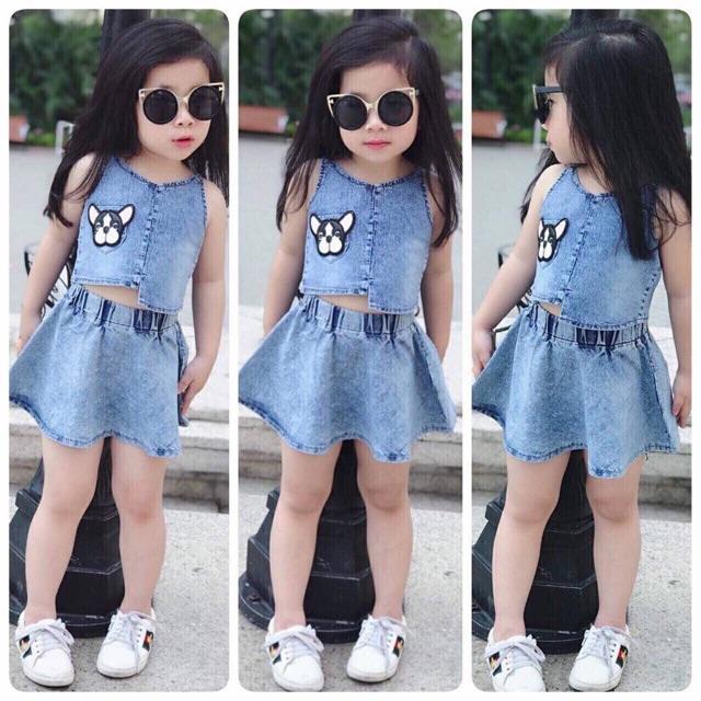 Sét áo và chân váy jeans cho bé gái - 2687891 , 1024427996 , 322_1024427996 , 150000 , Set-ao-va-chan-vay-jeans-cho-be-gai-322_1024427996 , shopee.vn , Sét áo và chân váy jeans cho bé gái