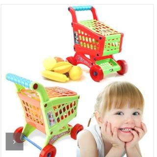 Trọn bộ đồ chơi xe đẩy hàng siêu thị kèm củ quả loại cực đại đặc biệt cho bé( xe lớn)