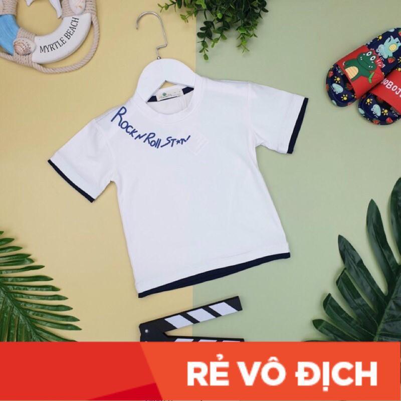 Áo cotton cộc tay phối viền RocknRoll bé trai size 9-14, cho bé 26-40kg. Chất cotton 4 chiều đanh, mềm tay, siêu đẹp