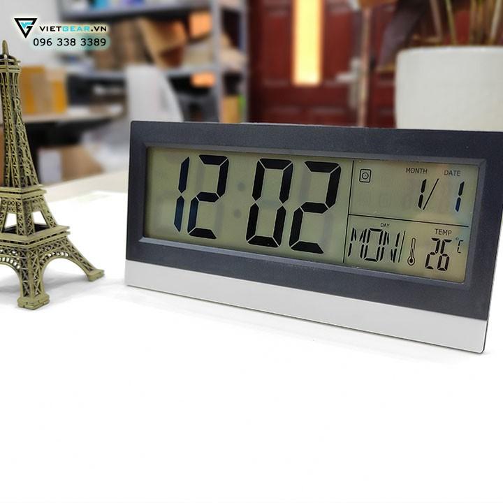 Đồng hồ văn phòng để bàn KADIO KD18522, đo nhiệt độ, báo thức, có led