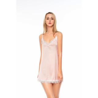 Dreamy VS03-54 Váy ngủ lụa cao cấp dáng suông 2 dây sexy phối ren trắng thumbnail