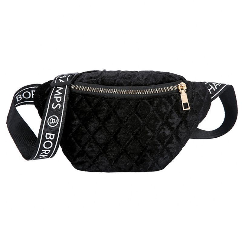 Women Velvet Plaid Fanny Pack Phone Pouch Zipper Shoulder Chest Bag Waist Pack Crossbody Handbag