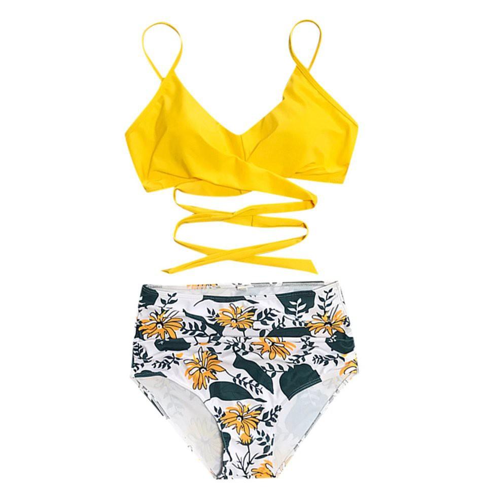 Bikini 2 Mảnh Lưng Cao Đan Dây Chéo Cho Nữ