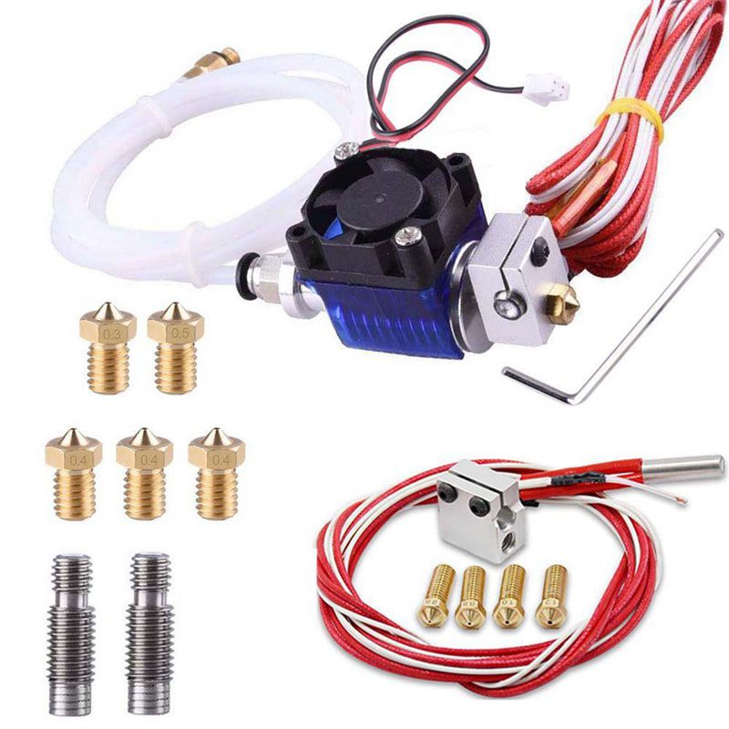All-Metal J-Head V6 Hotend Kit With 5 Pcs Extruder Print Head And Nozzle Throat