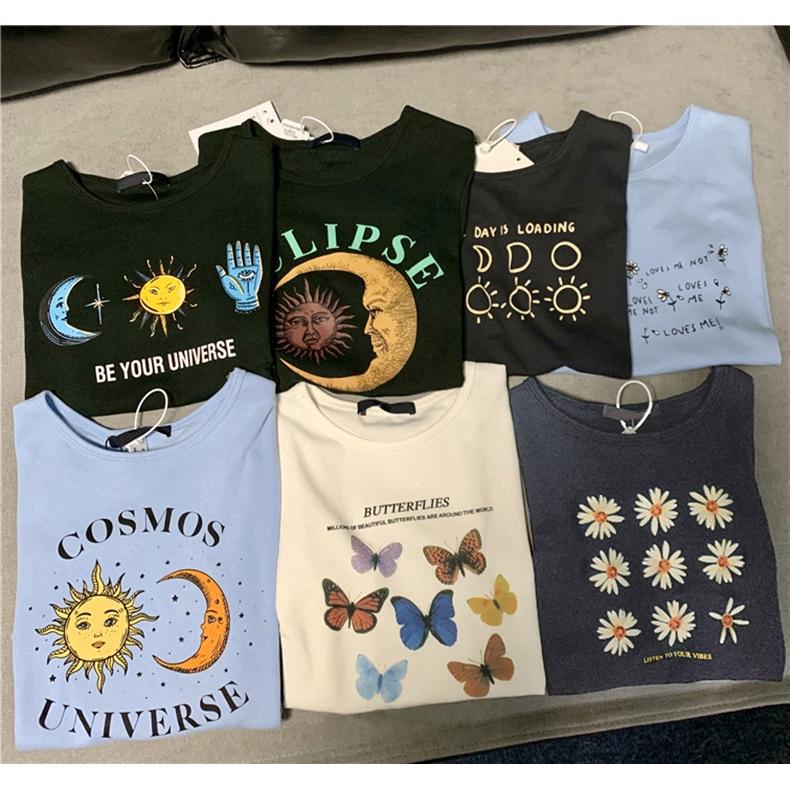 Crop top Korean style women's clothing butterfly Sun moon Chrysanthemum printing Short sleeve T-shirt