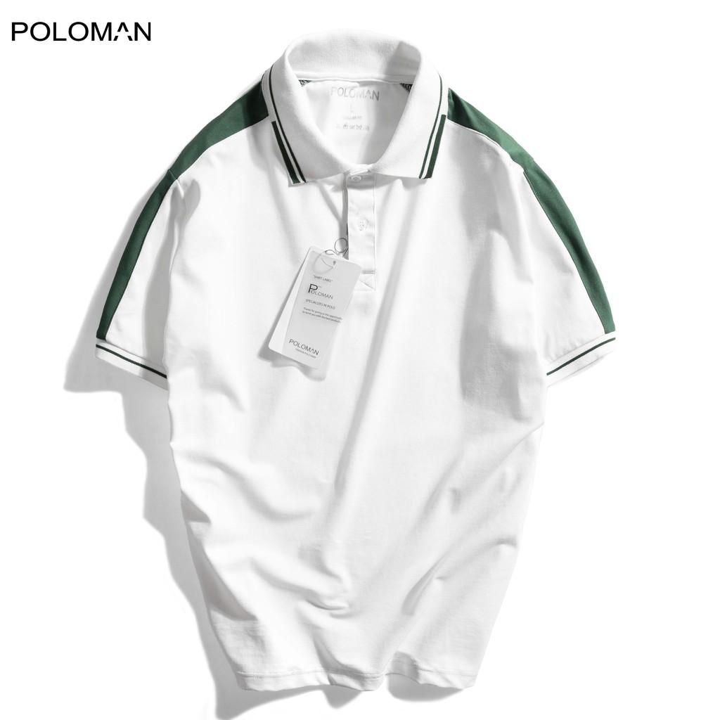 Áo Polo nam cổ bẻ phối Unkey vải cá sấu Cotton xuất xịn,chuẩn form.sang trọng-lịch lãm màu Trắng P23 - POLOMAN