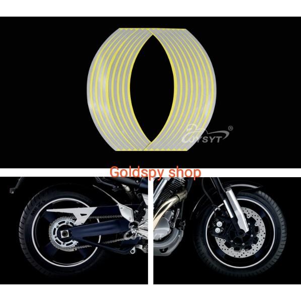 Tem dán vành phản quang xe máy - tem vành chỉ Decal xe máy ( giá 1 bộ )