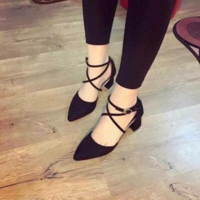 Giày gót mũi nhọn đan dây- ảnh thật ảnh cuối khách mang