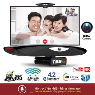 Android tv box Bluetooth 4.2 video 4K tích hợp camera và micro nghe gọi trực tiếp trên tivi bảo hành 1 năm T95C1 tv box