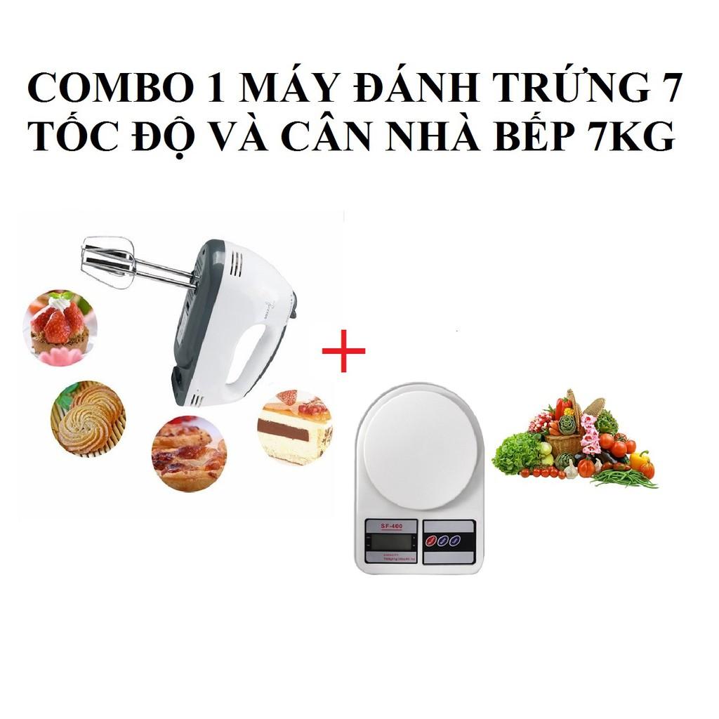 Combo 1 Máy Đánh Trứng 7 Tốc Độ + 1 Cân Nhà Bếp 7KG