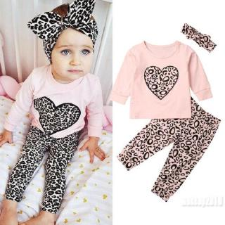 Mu♫-Toddler Kids Baby Girl Long Sleeve Tops Pullover Sweatsuit Leopard Pants Headband Fall Outfit Clothes