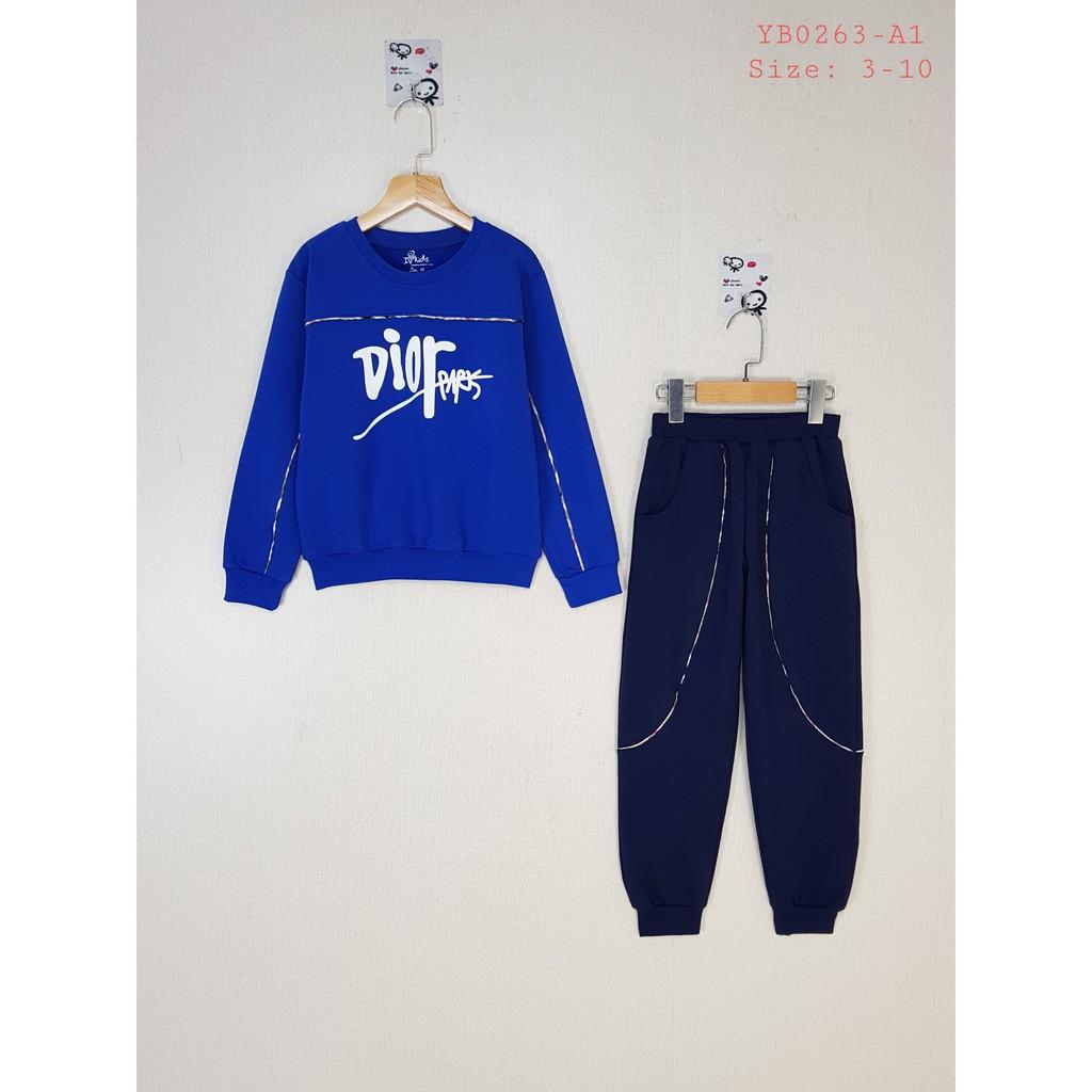 YB0263-A1 - Bộ nỉ da dài tay , bé trai , đáp viền in chữ , màu xanh coban , size nhỡ 3t-10t- Hàng Made In Vietnam