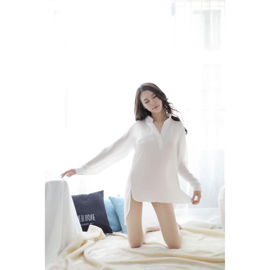 Áo sơ mi mặc nhà k21 - Đầm ngủ sơ mi vải voan cao cấp -  Váy ngủ mặc nhà - đồ ngủ mặc nhà gợi cảm