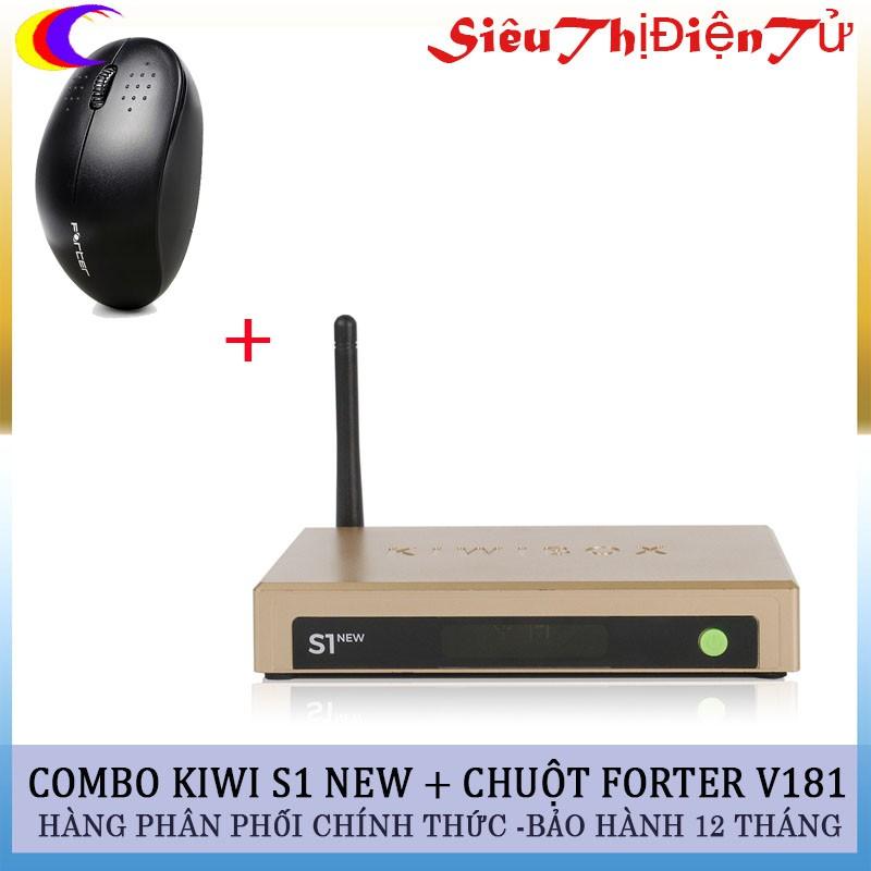 Combo đầu thu Androi TV box Kiwi S1 + chuột Forter V181