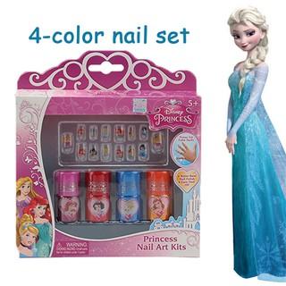 Children's Nail Polish Disney Princess Set 4 Color Nail Art Paste Water Soluble
