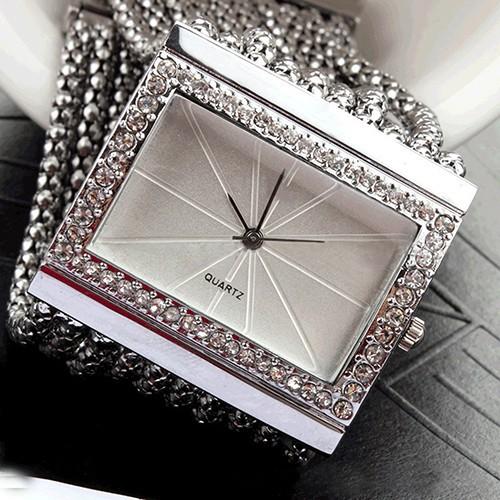 (MỚI 2016) Đồng hồ mặt vuông đính đá thời trang cho nữ