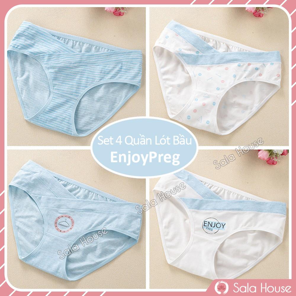 Set 4 QUẦN LÓT BẦU CẠP CHÉO EnjoyPreg SalaHouse chất cotton co giãn 4 chiều cho mẹ bầu và sau sinh - QL01