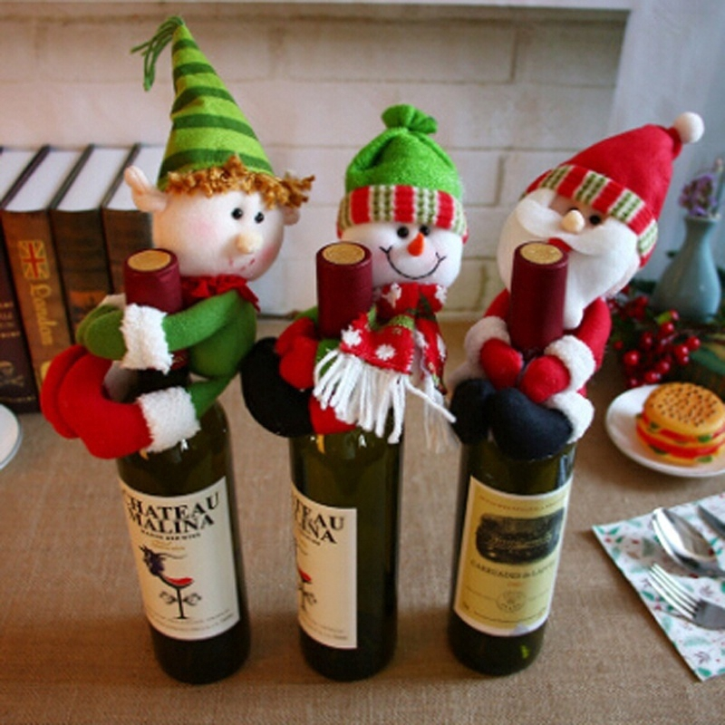 Christmas Decorations Santa Snowman Cute Held Red Wine Bottle Bar Package Restaurant Decor Santa Claus Decorations