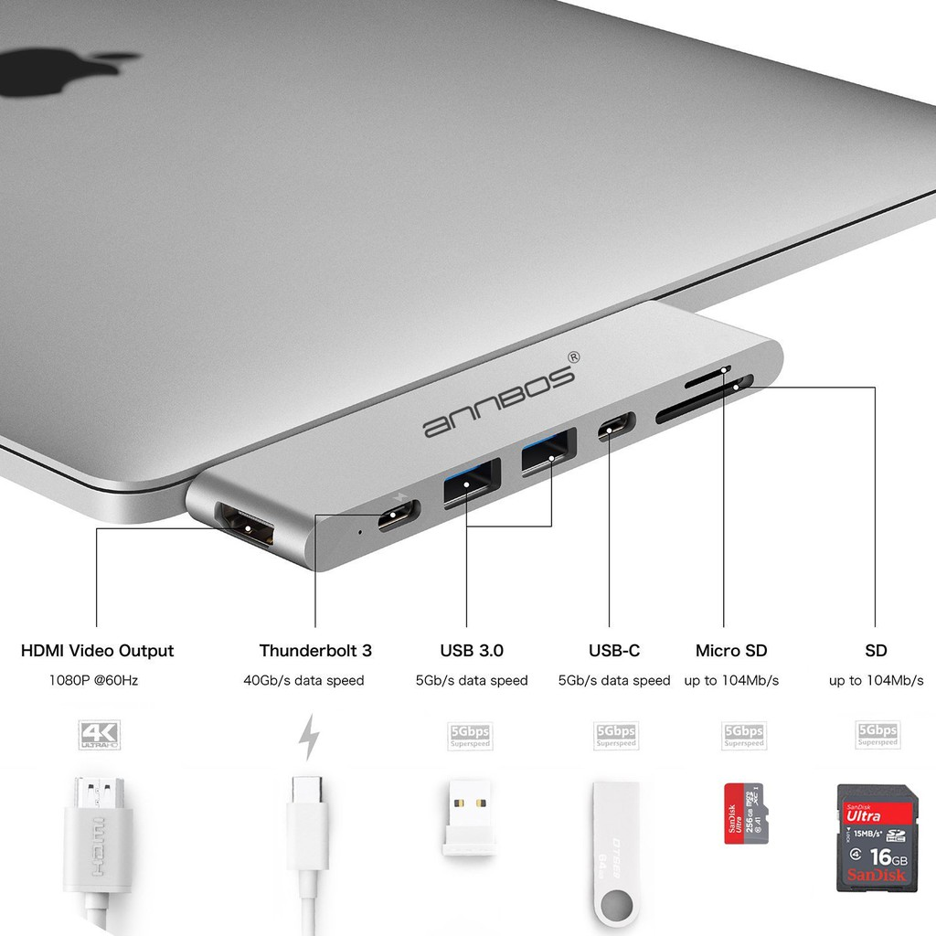 USB-C Hub 7 trong 1 dùng cho Macbook Giá chỉ 1.750.000₫