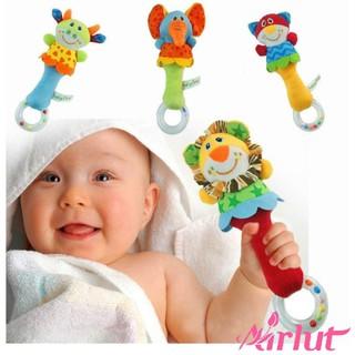 Cute Baby Animal Rattles Toy Cartoon Handbells Rattles Handle