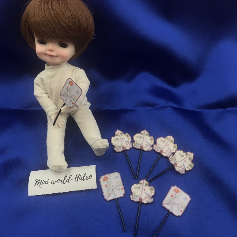 Quạt giấy mini tí hon dùng cho trang trí nhà búp bê bjd 1/12, 1/8 Dollhouse Miniature