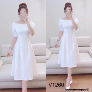 Đầm trắng trơn cổ vuông V1260 tinh khôi Mie Design kèm ảnh thật