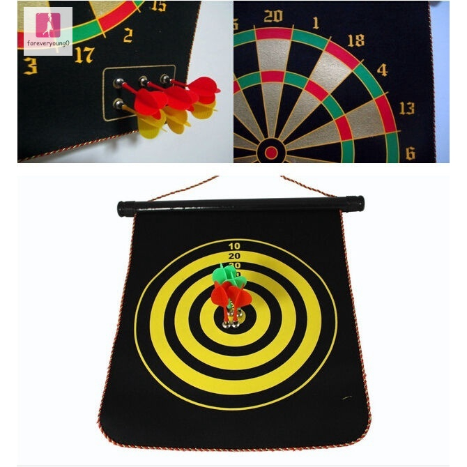 Thrilling Indoor Game 12in Double-sided Magnetic Dart Board Indoor Target Game & 4 Magnetic Darts New With Box (Size: 29