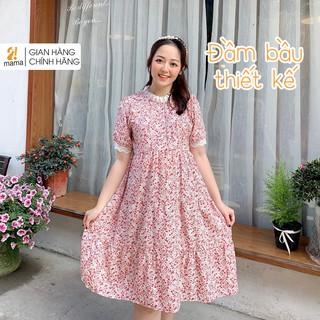 Váy bầu dự tiệc 2MAMA họa tiết hoa nhí pha ren dáng đuôi cá ba tầng V08 thumbnail