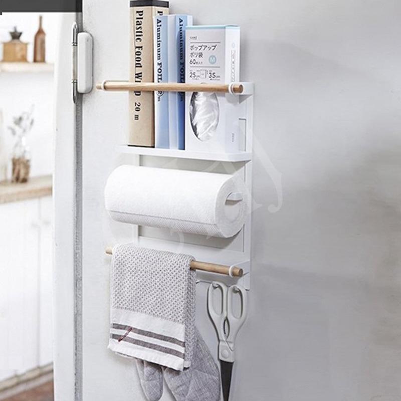 💕💕💕Rack ตู้เย็น, กระดาษผ้าขนหนูบนโต๊ะอาหาร Traceless เหล็กดูดซับ Hook, ห้องครัวชั้นวางของ