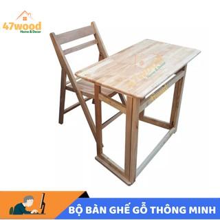Bộ bàn ghế gỗ thông minh, bộ bàn làm việc gỗ cao su – bộ bàn học gấp gọn bằng gỗ